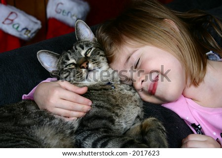 Adorable little girl snuggling with her pet cat.  Christmas stockings hanging in the background. - stock photo