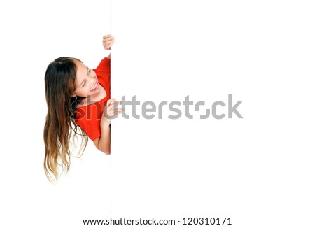 adorable little girl standing next to blank presentation board with copyspace isolated on white background - stock photo