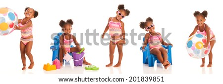 Adorable little girl wearing a swimsuit in five different poses.  Isolated on white. - stock photo