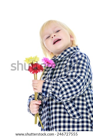 Adorable little girl with a bouquet in hand.concept childhood education and child development.Isolated on white background - stock photo