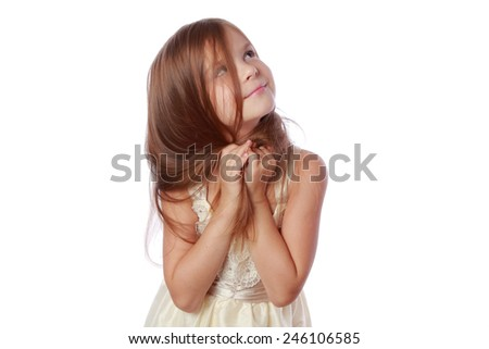 Adorable little girl with beautiful healthy hair - stock photo