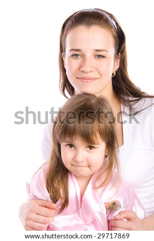 Adorable little girl with her mother