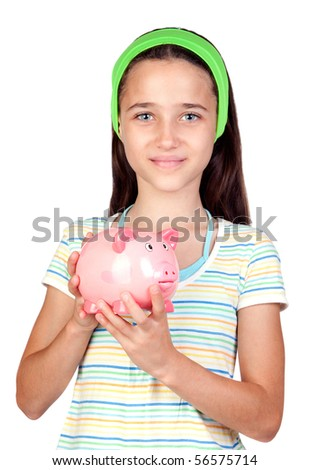 Adorable little girl with money-box isolated on white background - stock photo