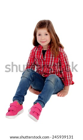 Adorable little girl with red plaid shirt isolated on a white background - stock photo