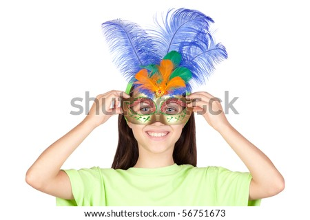 Adorable little girl with Venetian carnival mask isolated on white background - stock photo