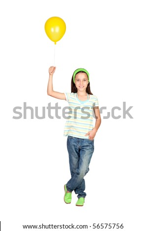 Adorable little girl with yellow balloon isolated on white background - stock photo