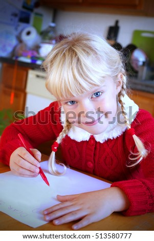 Adorable little girl writing letter santa stock photo royalty free adorable little girl writing the letter to santa claus spiritdancerdesigns Images