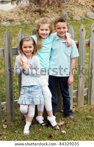 adorable little girls and boy with blond hair