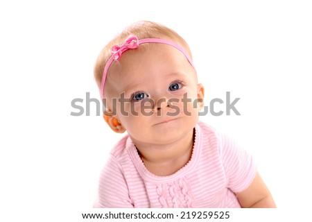 Adorable little infant girl on white background  - stock photo