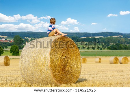 Adorable little kid boy in traditional German bavarian clothes, leather shorts and check shirt. Child sitting on hay stack or bale and dreaming. Active outdoors leisure on warm summer day. - stock photo