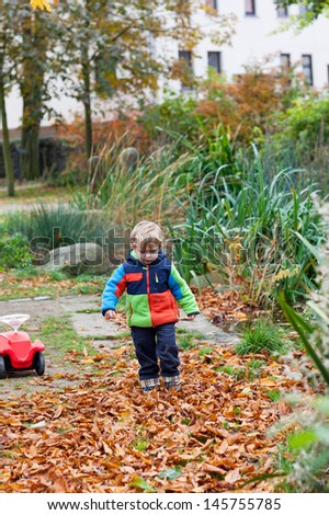 Adorable little toddler boy in autumn park with foliage and chestnut - stock photo