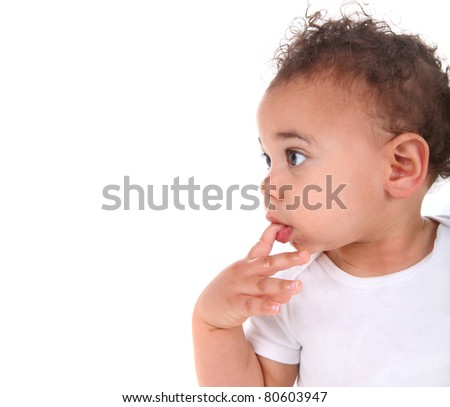 Adorable Mixed Race Baby Toddler Boy on White - stock photo