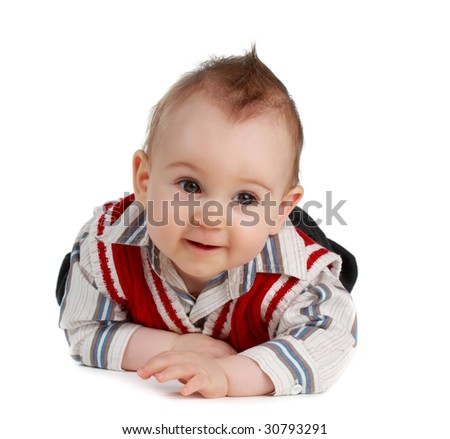 adorable 8 months caucasian baby boy, isolated on white