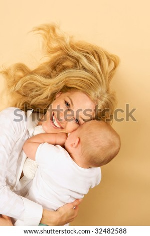 Adorable Mother and Child, snuggling
