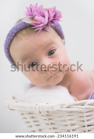 adorable newborn baby girl in the basket - stock photo