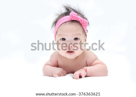 Adorable newborn baby isolated white background