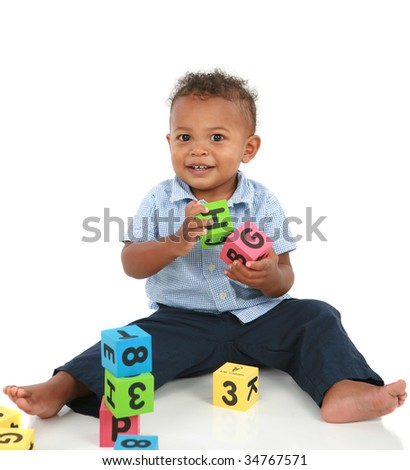 Adorable One Year Old African American Boy Playing Toy Isolated - stock photo