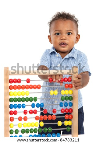 Adorable One Year Old African American Boy Playing Wooden Abacus Isolated - stock photo