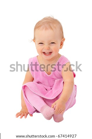 adorable one-year old baby sitting and smiling. isolated on white - stock photo