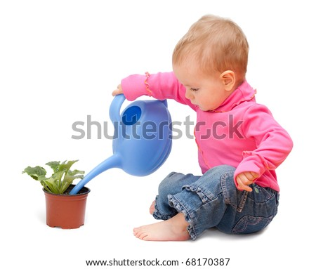 Adorable one-year old baby watering pot with a flower. Isolated on white - stock photo