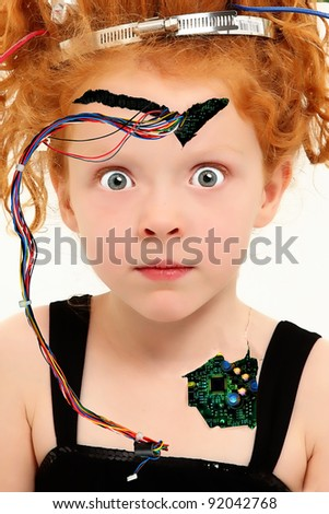 Adorable preschool girl dressed up as human cyborg over white. - stock photo