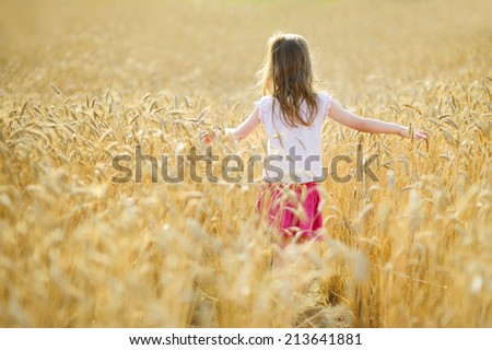 Adorable preschooler girl walking happily in wheat field on warm and sunny summer day - stock photo