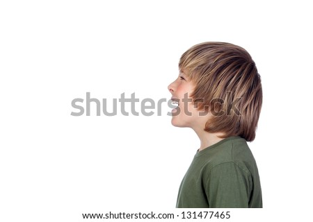 Adorable preteen boy shouting isolated on a over white background - stock photo