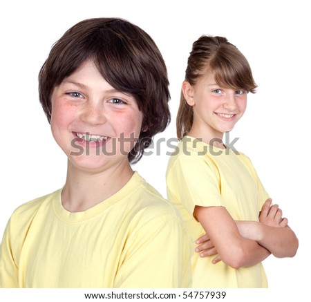 Adorable preteen girl and little boy in yellow isolated on white background
