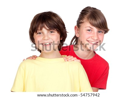 Adorable preteen girl and little boy isolated on white background - stock photo