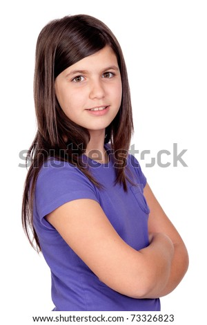Adorable preteen girl isolated on white background - stock photo