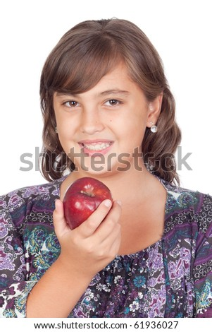 Adorable preteen girl with a apple isolated on white background - stock photo