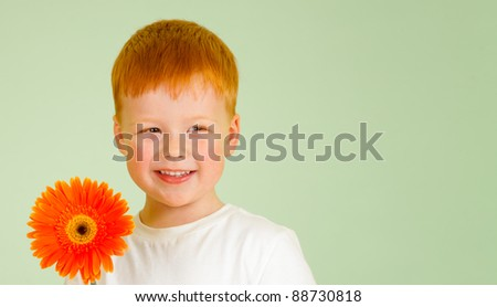 Adorable redheaded boy with orange African daisy on green background - stock photo