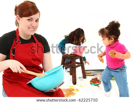 Adorable scene with baby sitter baking cookies with kids over white background.