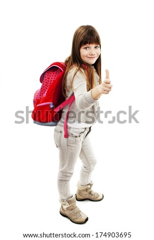 Adorable schoolgirl showing OK sign. Isolated on white background  - stock photo