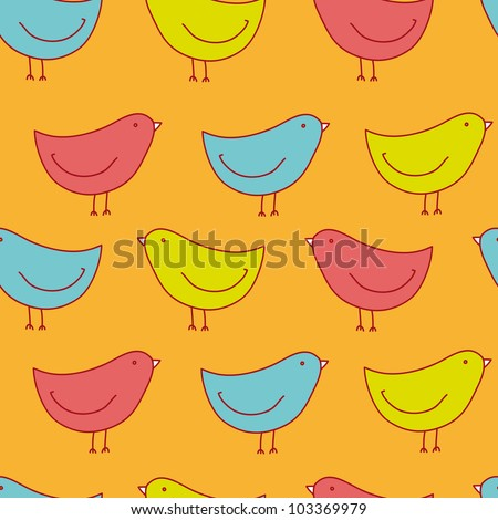 adorable seamless pattern with birds in jpg - stock photo