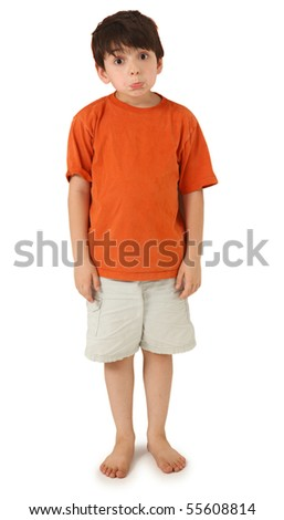 Adorable seven year old boy with silly pouting expression and wide eyes. - stock photo