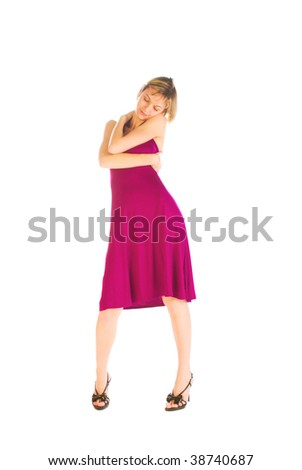 Adorable sexy woman hugging herself isolated over white - stock photo