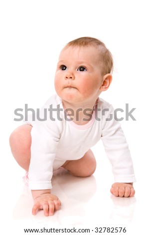 Adorable six month Baby Girl  looking up isolated on white - stock photo