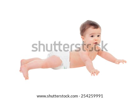 Adorable six month baby in diaper lying on the floor isolated on white background - stock photo