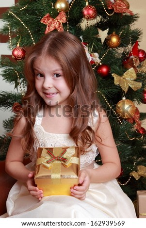 Adorable smiley princess wearing white dress and posing on camera with nice gift box over Christmas tree