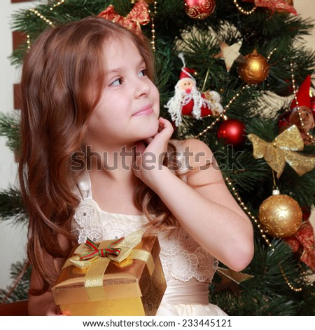 Adorable smiley princess wearing white dress and posing on camera with nice gift box over Christmas tree/Pretty little girl with Christmas gift on Holiday theme - stock photo
