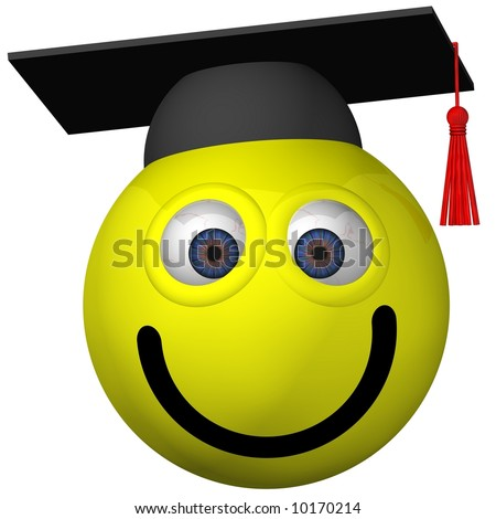 Adorable smiley wearing a graduation cap isolated on white - stock photo
