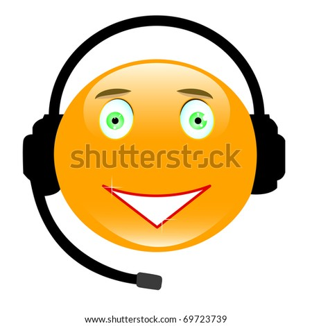 Adorable smiley wearing a headset isolated on white. Look for vector version at my portfolio. - stock photo