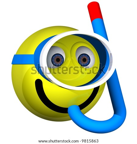 Adorable smiley wearing a mask and snorkel isolated on white - stock photo