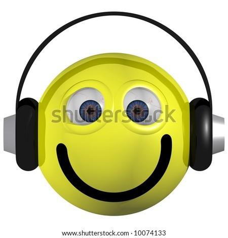 Adorable smiley wearing headphones isolated on white - stock photo