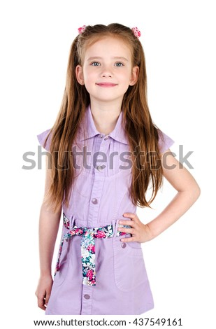 Adorable smiling  little girl in dress isolated on a white