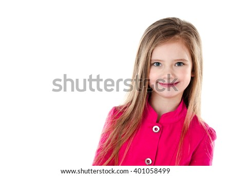 Adorable smiling little girl isolated on a white - stock photo