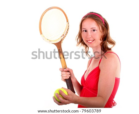 Adorable sporty woman in beautiful red dress is playing in tennis. Isolated on white background.