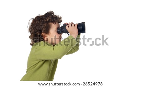 Adorable spy boy with binoculars isolated over white - stock photo