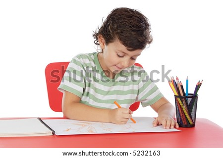 adorable student drawing  a over white background
